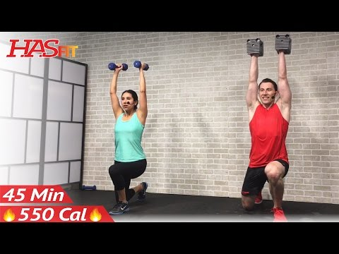 45 Min Total Body Strength Workout for Women & Men - Home Weight Training Full Body Dumbbell Workout