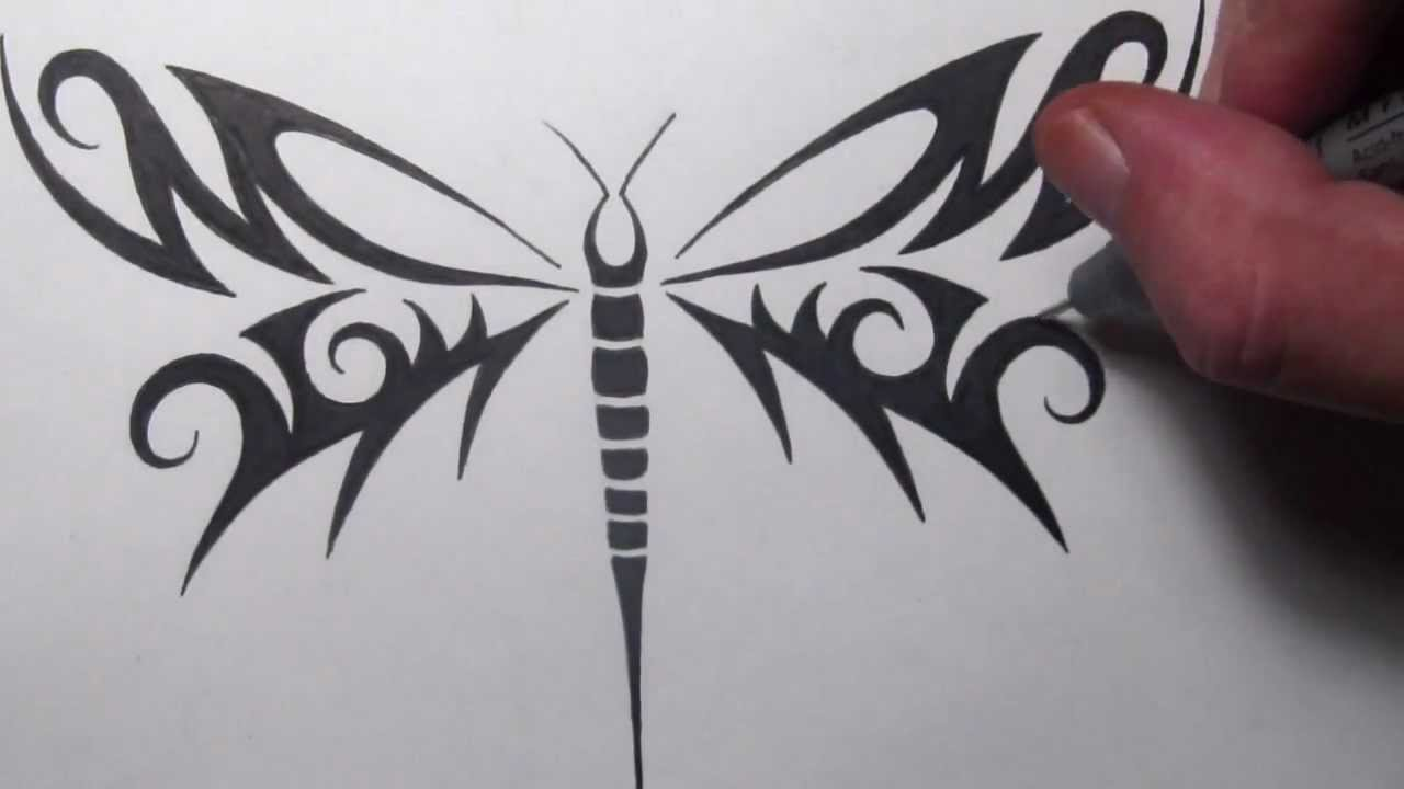 Drawing A Tribal Dragonfly Tattoo Design YouTube