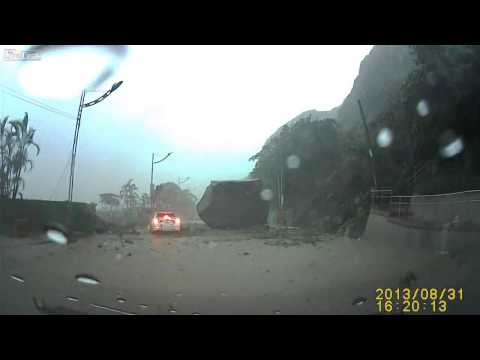 Must See  Giant Boulder Almost Crushes Car