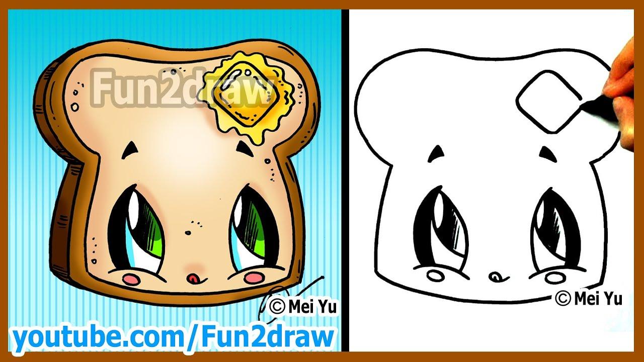 How to draw cartoons kawaii toast butter fun2draw for Fun to draw people