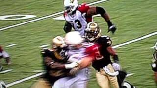 Kurt Warner Gets Hit Against The Saints 2010 Playoffs