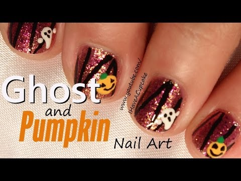 Ghosts and Pumpkins Nail Art