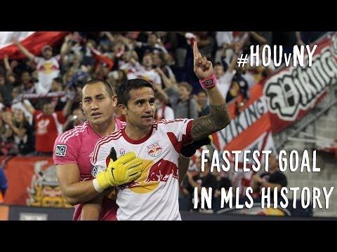 GOAL: Tim Cahilll scores fastest goal in MLS history   NY Red Bulls vs. Houston Dynamo