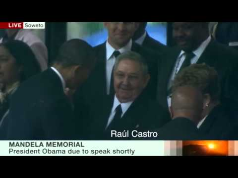 Historic Handshake between Raul Castro and Barack Obama