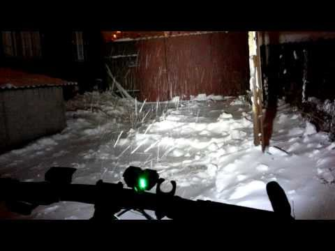SolarStorm X2 bike light - snowy winter night