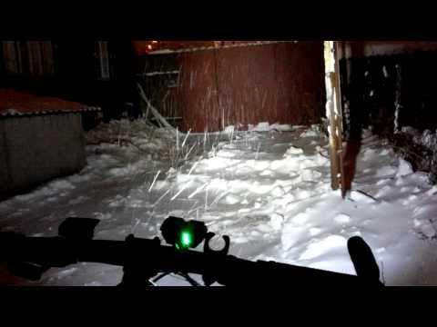 SolarStorm X2 bike light - snowy winter night