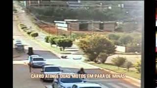 Imagens de acidente entrre carro e duas motos, em Par� de Minas, impressionam