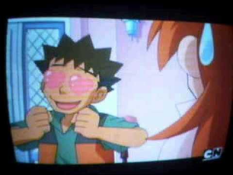 Brock opens his eyes., usually you Brocks eyes closed or have hearts but this time his eye are open.