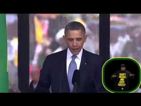 President Obama's speech with the Fake Sign Language Interpreter at the Mandela Ceremony