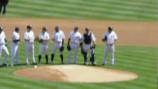 NY Yankees Opening Day 2012: Jorge Posada throws out first pitch to his dad 4-13-12