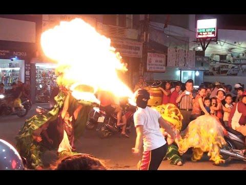 Múa lân 2016  phun lửa dầu tết thiếu nhi trung thu Hải Phòng - Lion Dance Fire - Kids 24 Hours