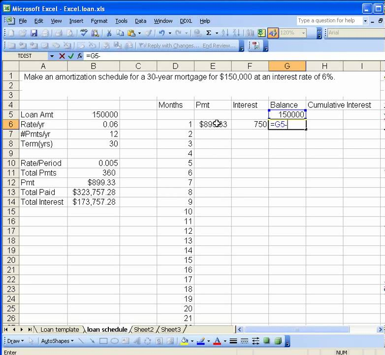 excel loan amortization schedule