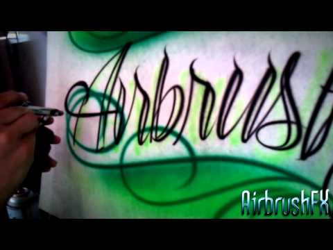 How to Airbrush Tattoo style script lettering with scrolls.