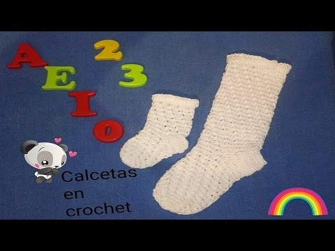 Calceta / calcetin / media / tejida en crochet paso a paso (Bautizo - primera comunion - Escolar)