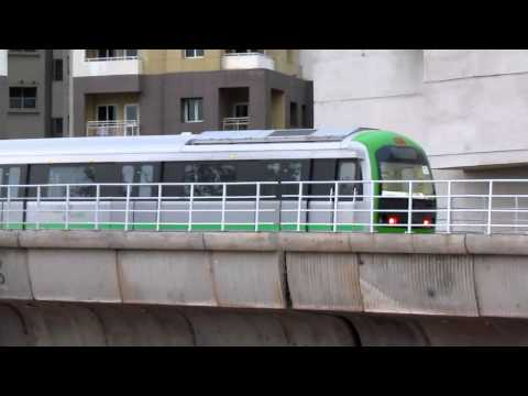 Testing : Green Namma Metro running parallel to Indian railways near Mantri Square !!!