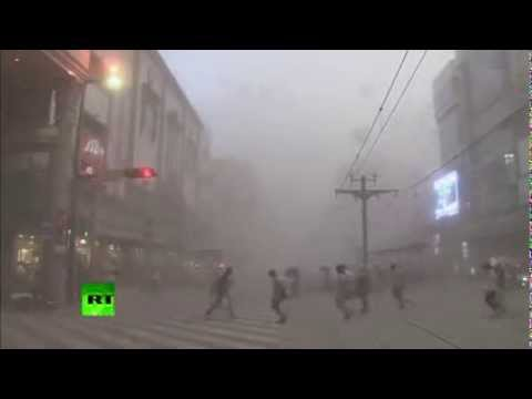 AMAZING VIDEO of JAPANESE VOLCANO spewing RECORD SMOKE CLOUD and covering a town in ASH