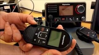 Видео обзор Стационарная УКВ радиостанция Raymarine Ray70 морского диапазона. Наличие всех международных каналов. GPS, AIS, D-DSC. Подключение до 2-х полнофункциональных постов, подключение интеркома и громкоговорителя.
