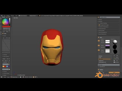 Iron Man Helmet Texture Painting_Final_Part4 (Blender 2.71)