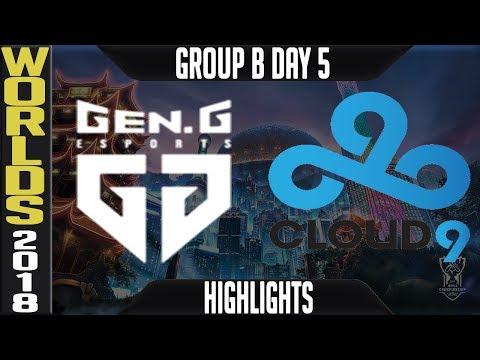 GEN vs C9 Highlights   Worlds 2018 Group B Day 5   Gen.G(LCK) vs Cloud9(NALCS)