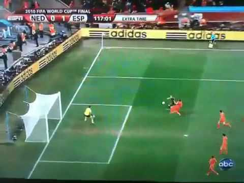 Spain Fifa 2010 world cup final game winning goal, Spain vs Netherland