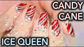Candy Cane Ice Queen nails AND FINGERS AHH