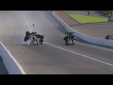 Clay Millican's Tire explodes @ 2013 NHRA Toyota Nationals Qualifying
