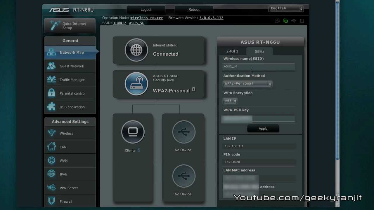 Asus Rt N66u Wifi Router Admin Interface Youtube