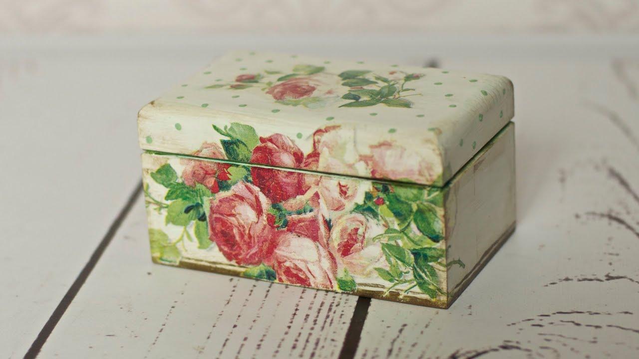 Decoupage tutorial tea box youtube for Wooden box tutorial