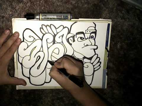 Drawing a (REQUEST) - (WEL) and a graffiti character