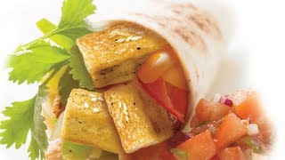 Fried Tofu Wraps With Hot Sauce and Mint Sauce..