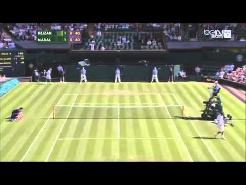 Rafael Nadal Hits Two Sensational Falling Passing Shots vs Klizan - Wimbledon 2014 [HD]