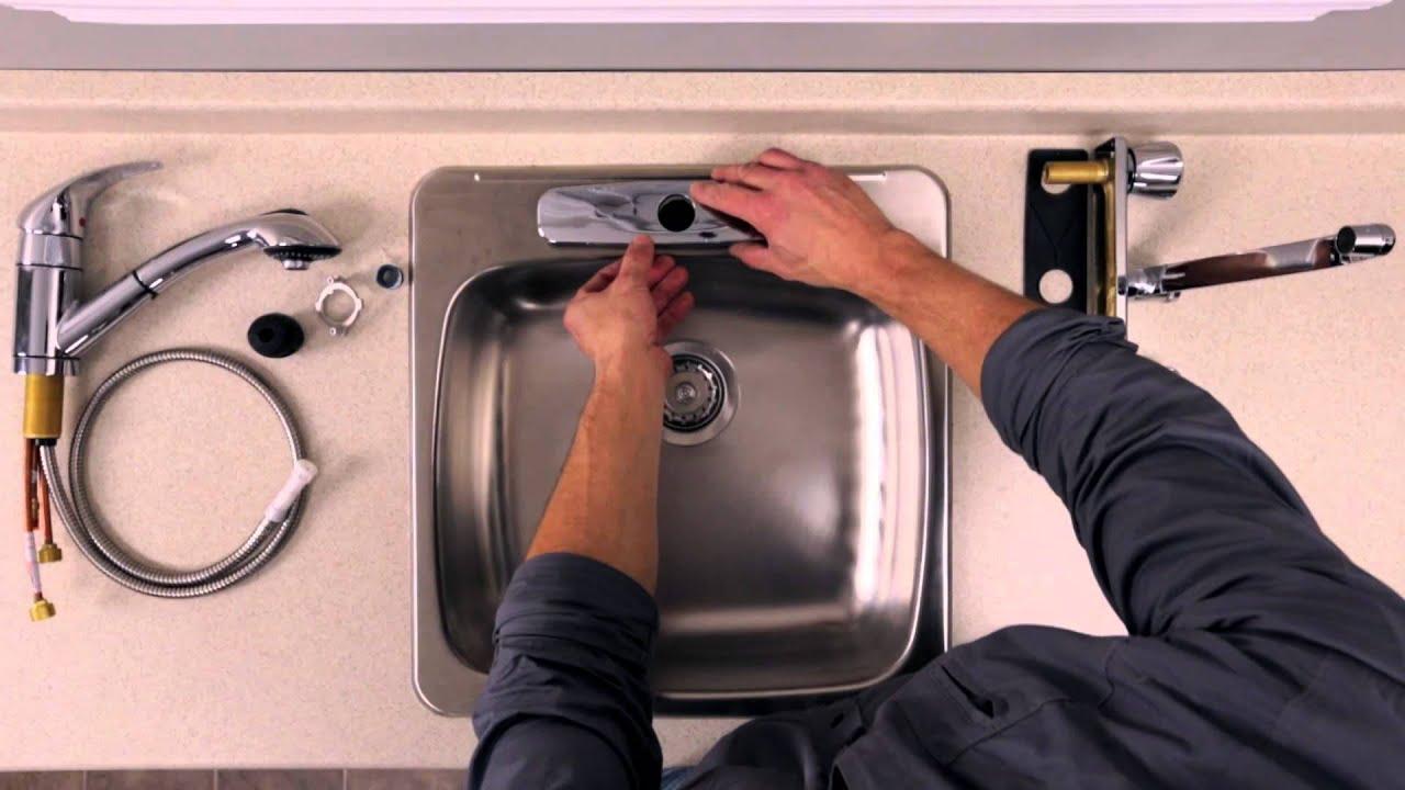 rona comment installer ou remplacer un robinet sur un vier de cuisine youtube. Black Bedroom Furniture Sets. Home Design Ideas