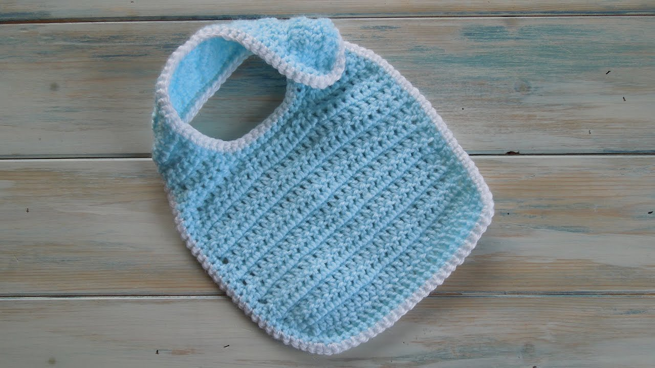 Crochet Baby Bib Patterns : (crochet) How To - Crochet a Newborn Baby Bib - Yarn Scrap ...