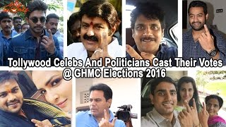 Cine Celebs & Politicians Cast Their Votes In GHMC Polls-Photo Play