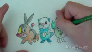 How To Draw Oshawott, Snivy, Tepig (Pokemon Black And