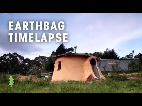 Time Lapse of Earthbag Tiny House Construction