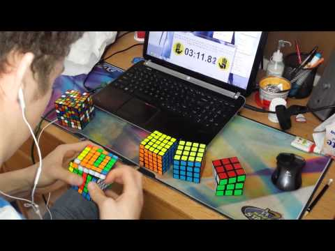 2x2 - 7x7 Rubik's Cube World Record : 6:23.81