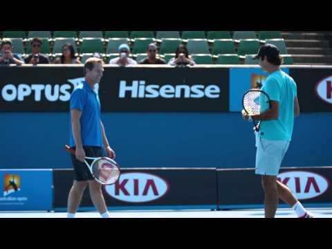 Roger and Rafa warming up - 2014 Australian Open