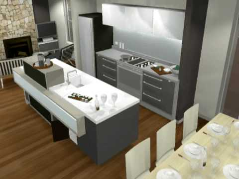 Small Modern Kitchen Design 3D animation by Minosa