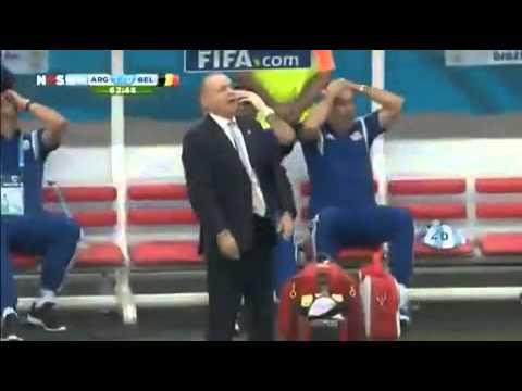 Argentina coach falling down