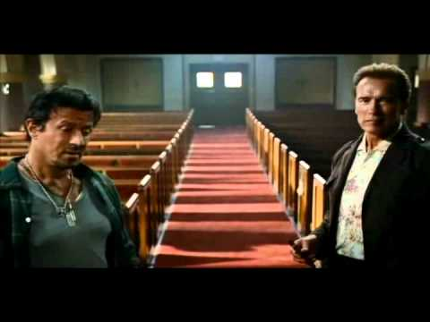 The Expendables - Scene with Stallone, Willis and Schwarzenegger