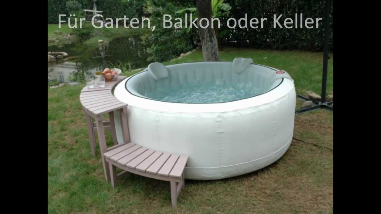whirlpool aufblasbar f r garten balkon oder keller youtube. Black Bedroom Furniture Sets. Home Design Ideas