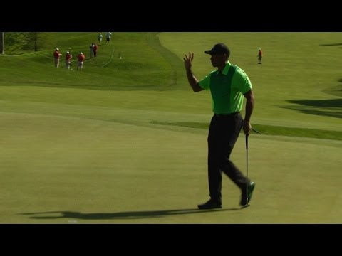 Tiger Woods makes first birdie on No. 14 at Quicken Loans
