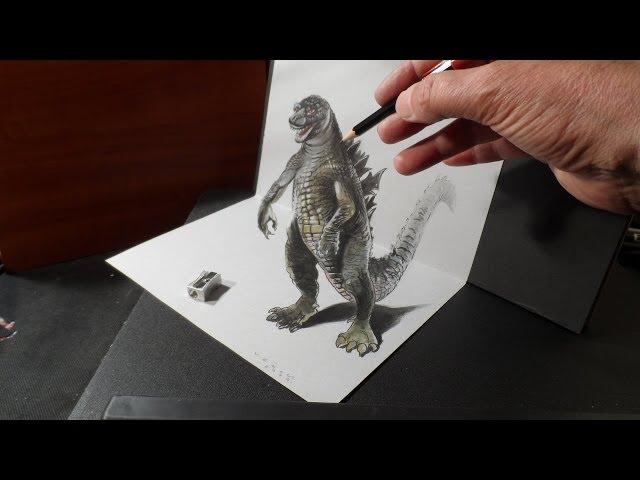 輕鬆簡單畫3D立體哥斯拉,好逼真!
