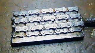 Дамаск из цепи полный процесс (ножи)