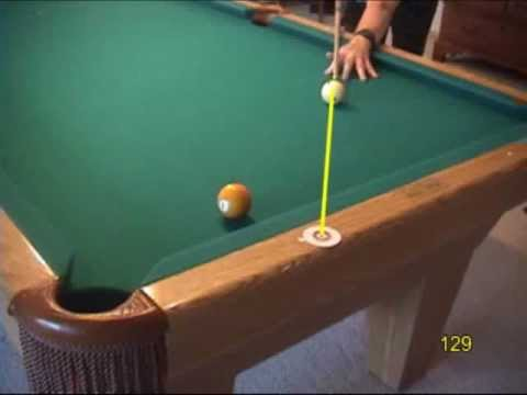 Pool and billiards drill for aiming shallow-angle one-rail kick shots, from VEPP IV (NV C.13)