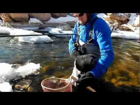 Winter Tenkara Fly Fishing - Rob hooks a nice brown while fishing wintry conditions