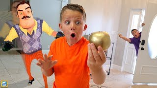 Hello Neighbor Challenge!! Sneaking Into Our House Treasure Hunt!
