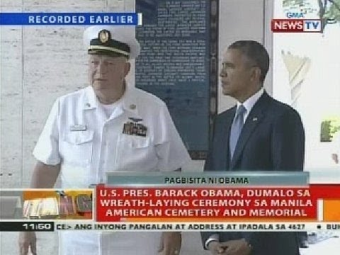 U.S. Pres. Barack Obama, dumalo sa wreath-laying ceremony sa Manila American Cemetery and Memorial