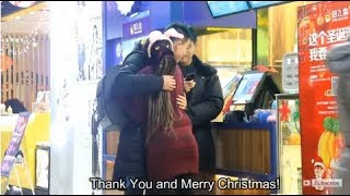 Chinese Men React To Black Girl's Hug
